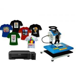 Nadruki na płaskich i koszulkach z drukarką Epson L1110 A4, tani zestaw do sublimacji