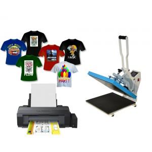 Nadruk na koszulkach i płaskich z drukarką A3 Epson L1300 i prasą HPC380 40x50, zestaw do sublimacji