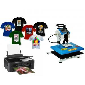 Tani zestaw z drukarką Epson A4, tuszami, profilami oraz z prasą płaską HP230B-2 do sublimacji