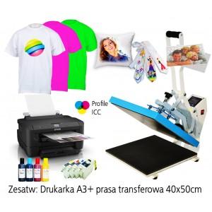 MAXi Zestaw dla Drukarka A3+ z prasą 40x50 Zestaw do nadruków na koszulkach, puzzalach, krawatach, blachach itp