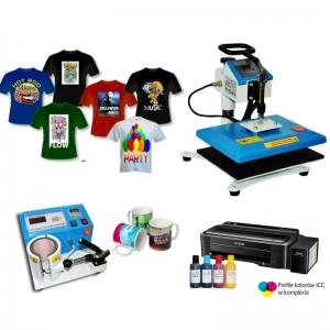 Nadruki na płaskich, koszulkach i kubkach z drukarką Epson L1110 A4, tani zestaw do sublimacji