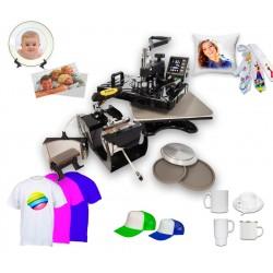 Wielofunkcyjna Prasa transferowa 5 przystawek COMBO maxi, do: koszulek, hot mug, czapek, talerzy