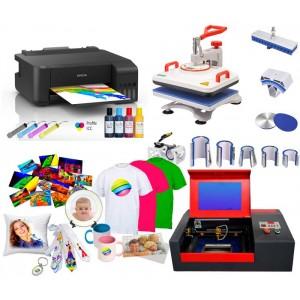 Zestaww COMBO z wymiennymi przystawkami do nadruków na płaskich oraz ceramice typu kubki z drukarką i grawerką laserową