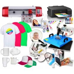 Zestaww COMBO z wymiennymi przystawkami do nadruków na płaskich oraz ceramice typu kubki z drukarką