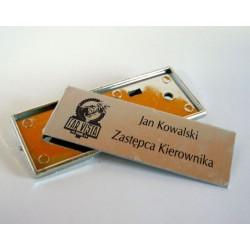 Metalowe plakietki, identyfikator srebrne sublimacja